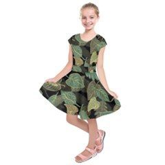 Autumn Fallen Leaves Dried Leaves Kids  Short Sleeve Dress