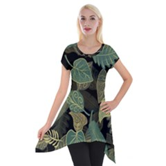 Autumn Fallen Leaves Dried Leaves Short Sleeve Side Drop Tunic