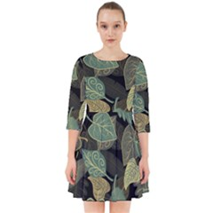 Autumn Fallen Leaves Dried Leaves Smock Dress