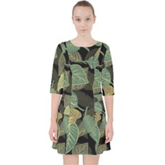 Autumn Fallen Leaves Dried Leaves Pocket Dress