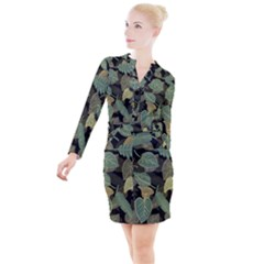Autumn Fallen Leaves Dried Leaves Button Long Sleeve Dress