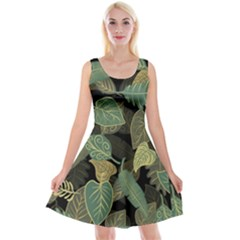 Autumn Fallen Leaves Dried Leaves Reversible Velvet Sleeveless Dress