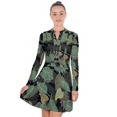 Autumn Fallen Leaves Dried Leaves Long Sleeve Panel Dress