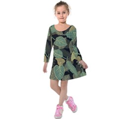 Autumn Fallen Leaves Dried Leaves Kids  Long Sleeve Velvet Dress