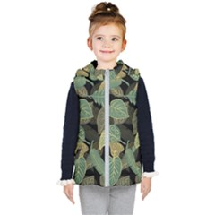Autumn Fallen Leaves Dried Leaves Kid s Hooded Puffer Vest