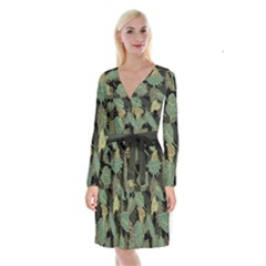 Autumn Fallen Leaves Dried Leaves Long Sleeve Velvet Front Wrap Dress