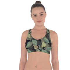 Autumn Fallen Leaves Dried Leaves Cross String Back Sports Bra