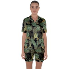 Autumn Fallen Leaves Dried Leaves Satin Short Sleeve Pyjamas Set