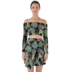 Autumn Fallen Leaves Dried Leaves Off Shoulder Top With Skirt Set