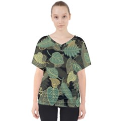 Autumn Fallen Leaves Dried Leaves V Neck Dolman Drape Top