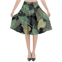 Autumn Fallen Leaves Dried Leaves Flared Midi Skirt