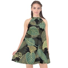 Autumn Fallen Leaves Dried Leaves Halter Neckline Chiffon Dress