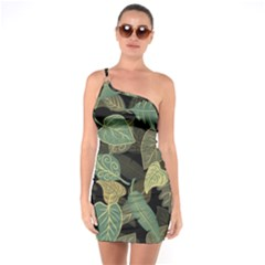 Autumn Fallen Leaves Dried Leaves One Soulder Bodycon Dress