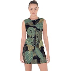 Autumn Fallen Leaves Dried Leaves Lace Up Front Bodycon Dress