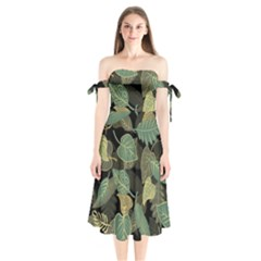 Autumn Fallen Leaves Dried Leaves Shoulder Tie Bardot Midi Dress