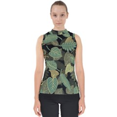 Autumn Fallen Leaves Dried Leaves Mock Neck Shell Top