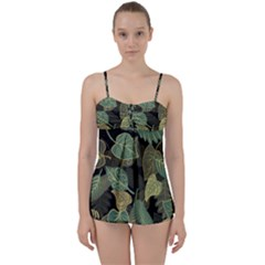 Autumn Fallen Leaves Dried Leaves Babydoll Tankini Set