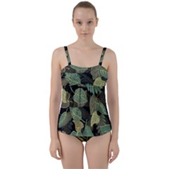 Autumn Fallen Leaves Dried Leaves Twist Front Tankini Set