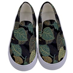Autumn Fallen Leaves Dried Leaves Kids  Canvas Slip Ons