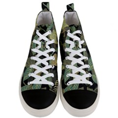 Autumn Fallen Leaves Dried Leaves Men s Mid Top Canvas Sneakers