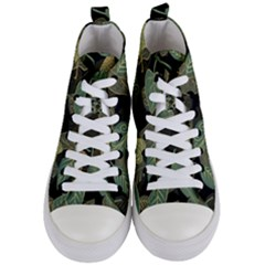 Autumn Fallen Leaves Dried Leaves Women s Mid Top Canvas Sneakers