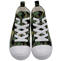 Autumn Fallen Leaves Dried Leaves Kid s Mid Top Canvas Sneakers