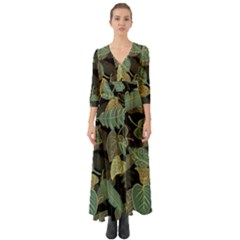 Autumn Fallen Leaves Dried Leaves Button Up Boho Maxi Dress