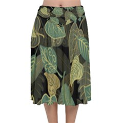 Autumn Fallen Leaves Dried Leaves Velvet Flared Midi Skirt