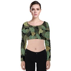 Autumn Fallen Leaves Dried Leaves Velvet Long Sleeve Crop Top