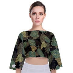 Autumn Fallen Leaves Dried Leaves Tie Back Butterfly Sleeve Chiffon Top