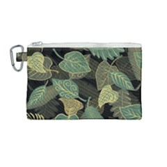 Autumn Fallen Leaves Dried Leaves Canvas Cosmetic Bag (medium)