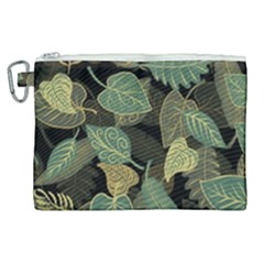 Autumn Fallen Leaves Dried Leaves Canvas Cosmetic Bag (xl)