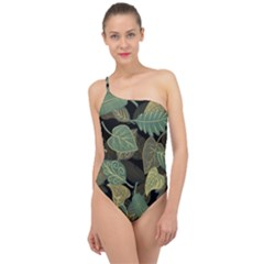 Autumn Fallen Leaves Dried Leaves Classic One Shoulder Swimsuit