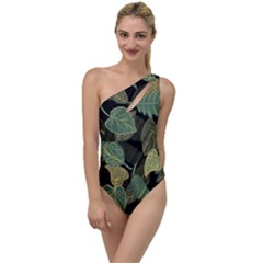 Autumn Fallen Leaves Dried Leaves To One Side Swimsuit