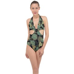 Autumn Fallen Leaves Dried Leaves Halter Front Plunge Swimsuit
