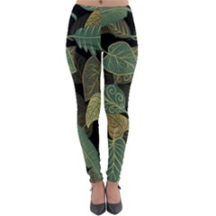 Autumn Fallen Leaves Dried Leaves Lightweight Velour Leggings