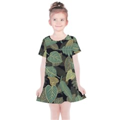 Autumn Fallen Leaves Dried Leaves Kids  Simple Cotton Dress