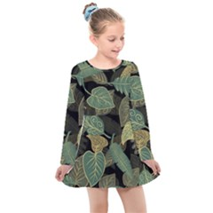 Autumn Fallen Leaves Dried Leaves Kids  Long Sleeve Dress