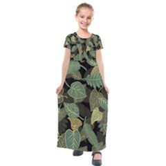 Autumn Fallen Leaves Dried Leaves Kids  Short Sleeve Maxi Dress