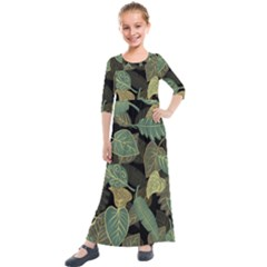 Autumn Fallen Leaves Dried Leaves Kids  Quarter Sleeve Maxi Dress