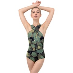 Autumn Fallen Leaves Dried Leaves Cross Front Low Back Swimsuit