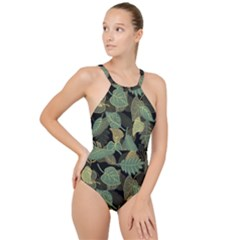 Autumn Fallen Leaves Dried Leaves High Neck One Piece Swimsuit