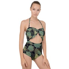 Autumn Fallen Leaves Dried Leaves Scallop Top Cut Out Swimsuit