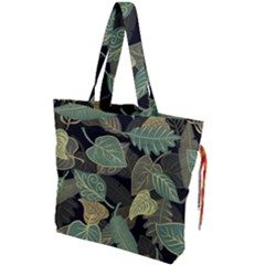 Autumn Fallen Leaves Dried Leaves Drawstring Tote Bag by Nexatart