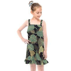 Autumn Fallen Leaves Dried Leaves Kids  Overall Dress