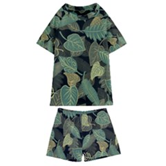 Autumn Fallen Leaves Dried Leaves Kids  Swim Tee And Shorts Set