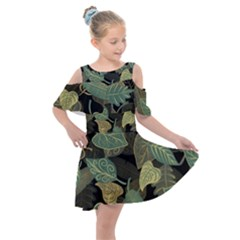 Autumn Fallen Leaves Dried Leaves Kids  Shoulder Cutout Chiffon Dress