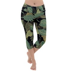 Autumn Fallen Leaves Dried Leaves Lightweight Velour Capri Yoga Leggings