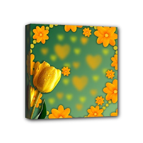 Background Design Texture Tulips Mini Canvas 4  X 4  (stretched)