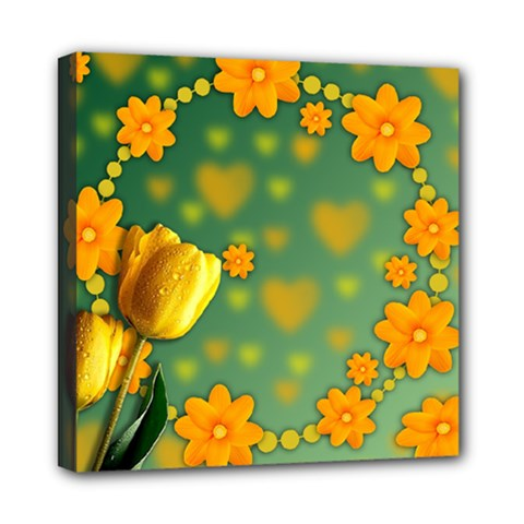 Background Design Texture Tulips Mini Canvas 8  X 8  (stretched)